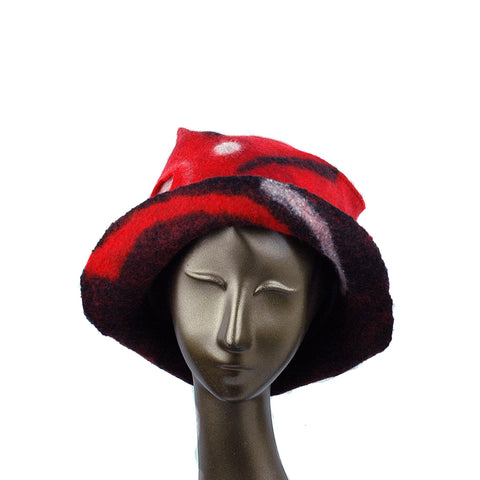 Felted Red and Black Fedora with Geometric Pattern - front view