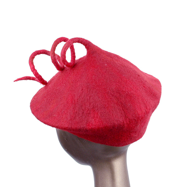 Felted Red Beret with Long Curlicue - back view