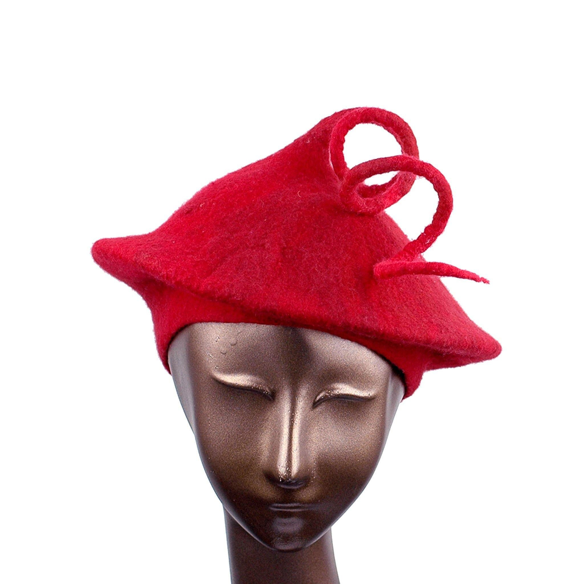 Felted Red Beret with Long Curlicue - front view