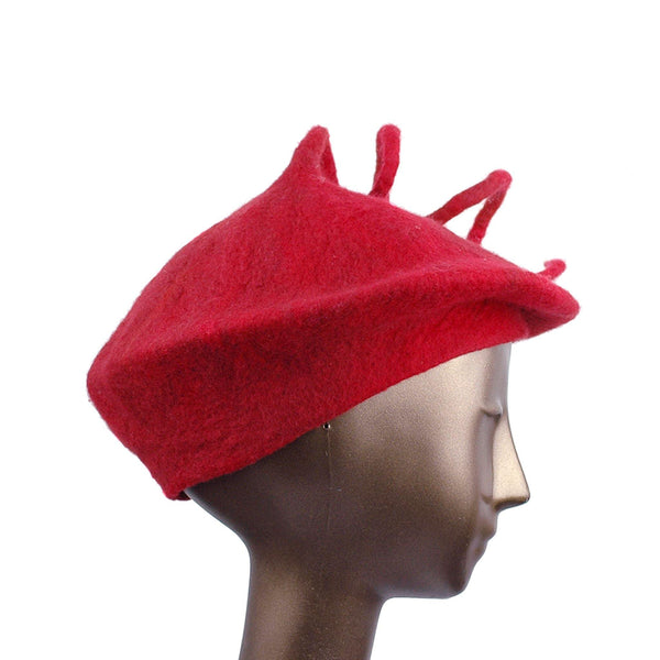 Felted Red Beret with Long Curlicue -side view
