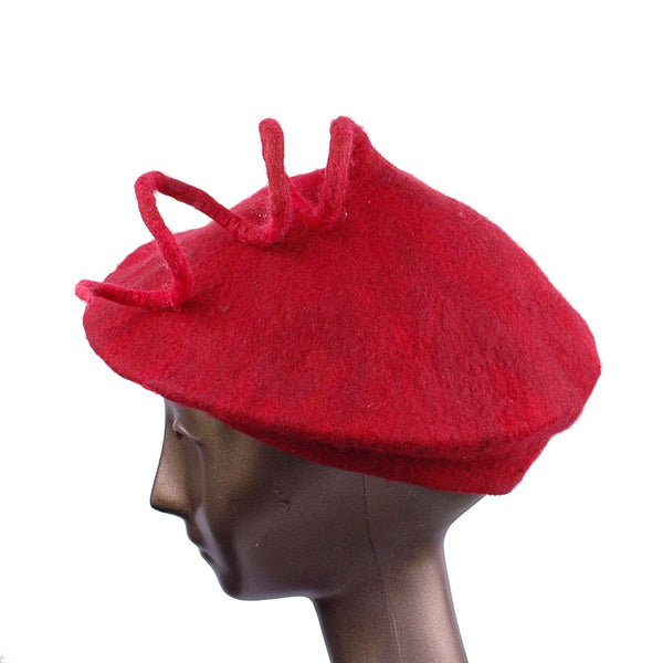 Felted Red Beret with Long Curlicue - side view