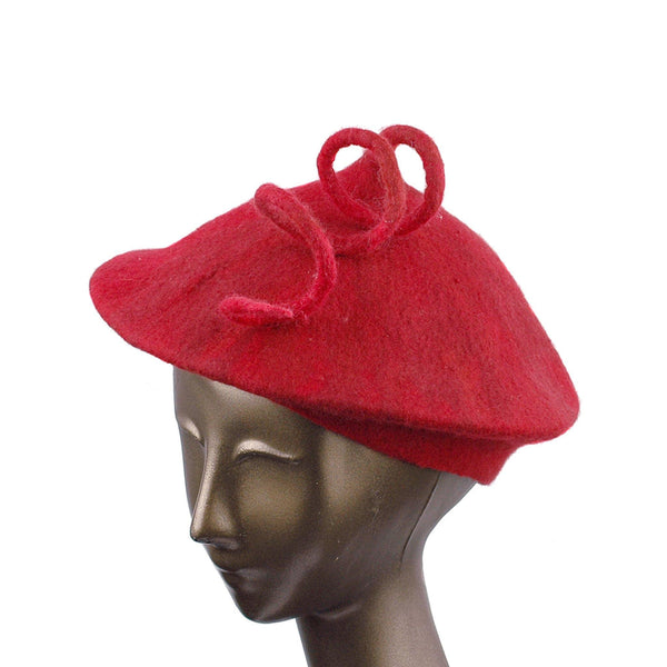 Felted Red Beret with Long Curlicue - three quarters view