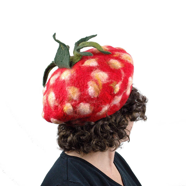 Felted Strawberry Beret with Leafy Stem - back view