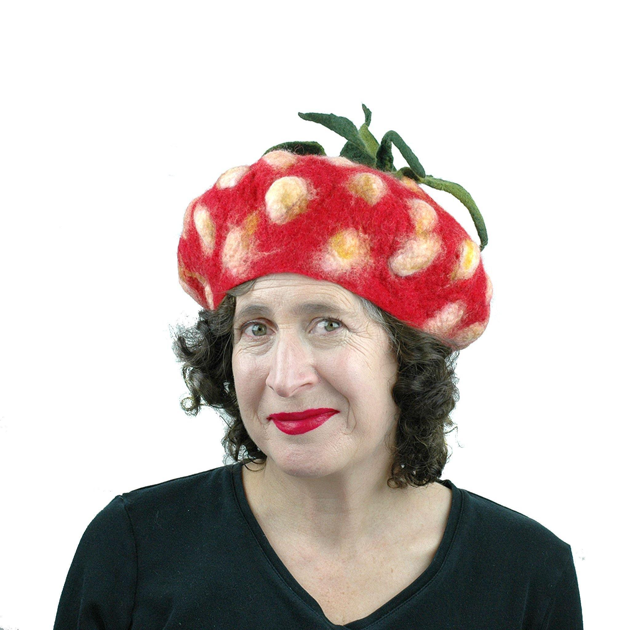 Felted Strawberry Beret with Leafy Stem - front view