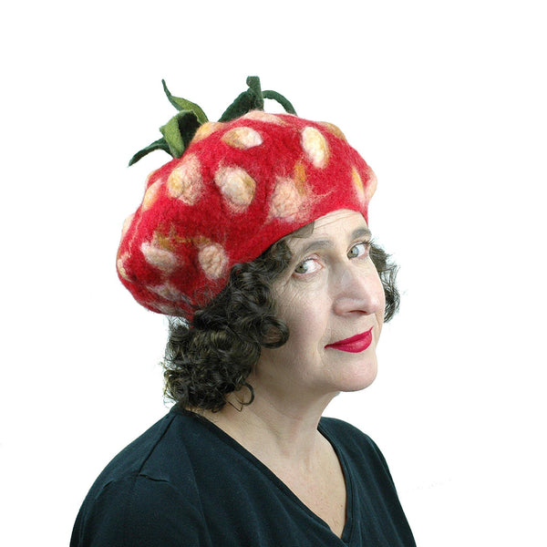 Felted Strawberry Beret with Leafy Stem - side view