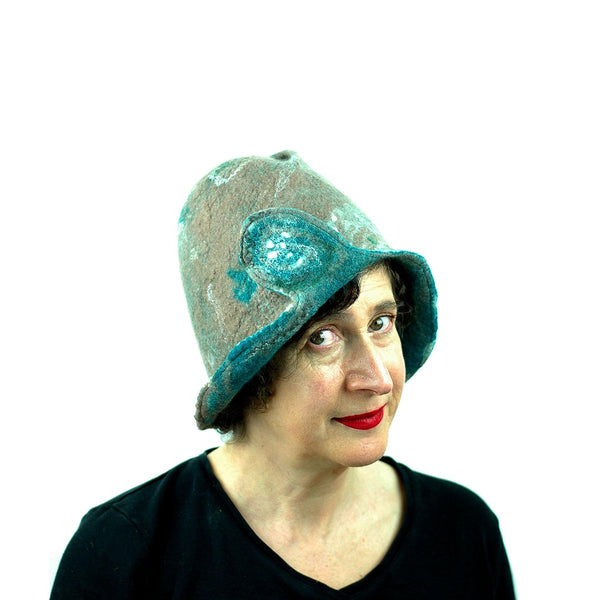 Felted Light Brown Highland Style Cloche - three quarters view