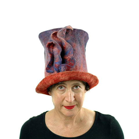 Purple and Orange Felted Top Hat Inspired by Monet Painting - front view