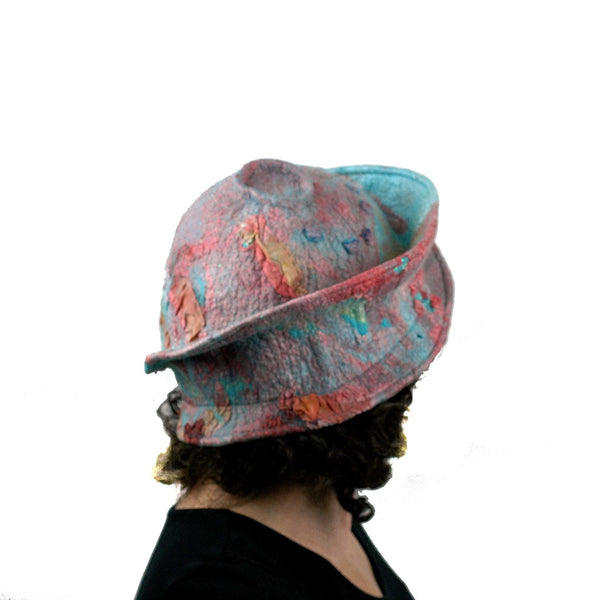 Felted Wearable Art Hat in Coral and Turquoise - back view