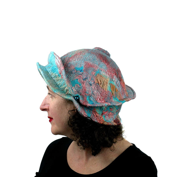 Felted Wearable Art Hat in Coral and Turquoise - side view
