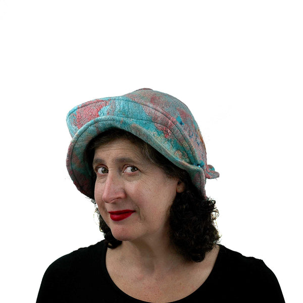 Felted Wearable Art Hat in Coral and Turquoise - threequarters view