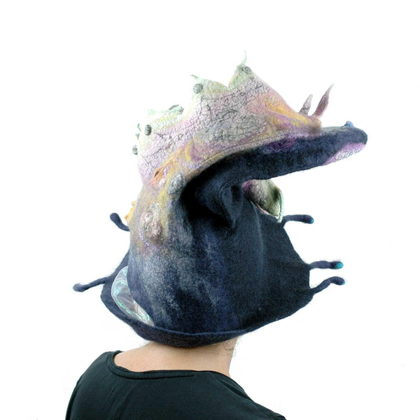 Felted Witch Hat with Rainbow Dragon - backview