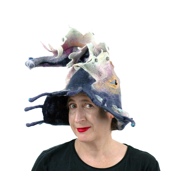 Felted Witch Hat with Rainbow Dragon - three quarters view