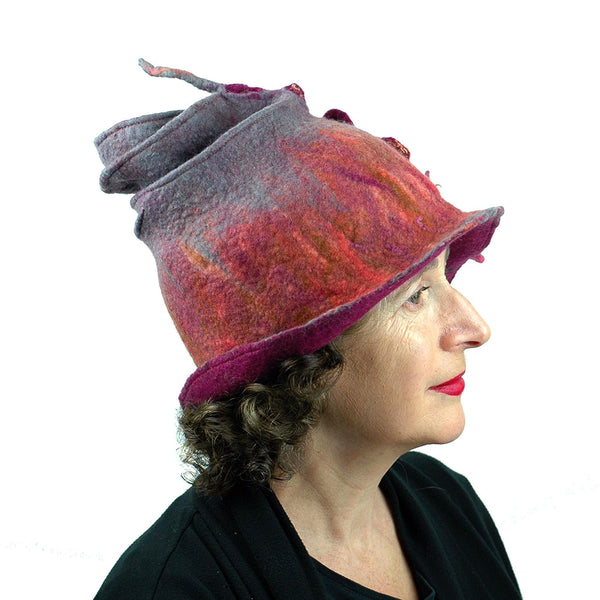 Felted Wizard Hat in Coral, Magenta and Gray -side view