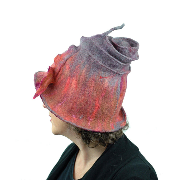 Felted Wizard Hat in Coral, Magenta and Gray - sideback view