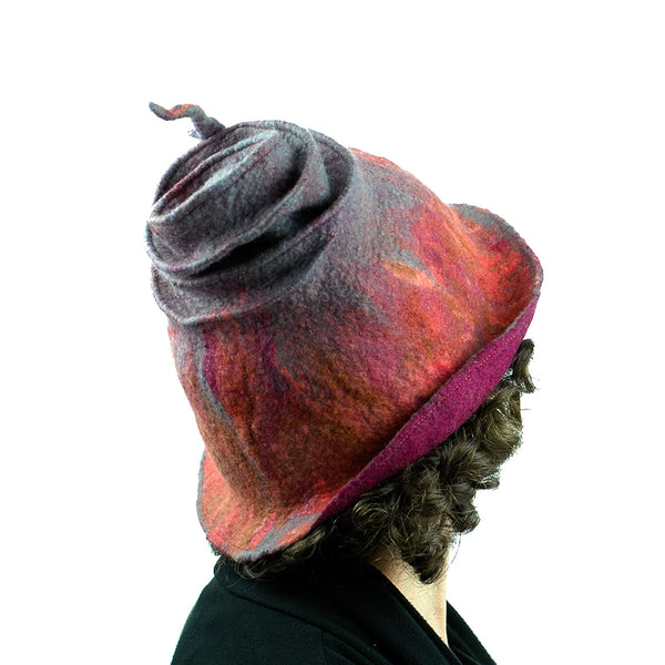 Felted Wizard Hat in Coral, Magenta and Gray - back view