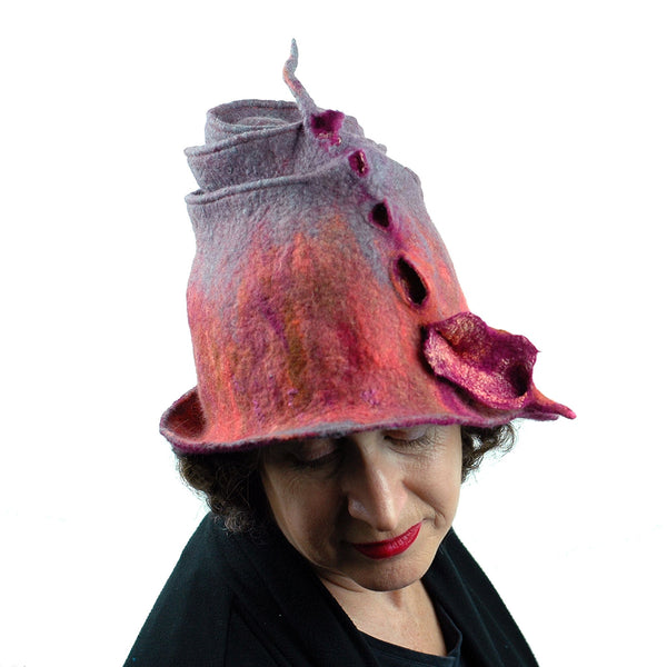 Felted Wizard Hat in Coral, Magenta and Gray - top view