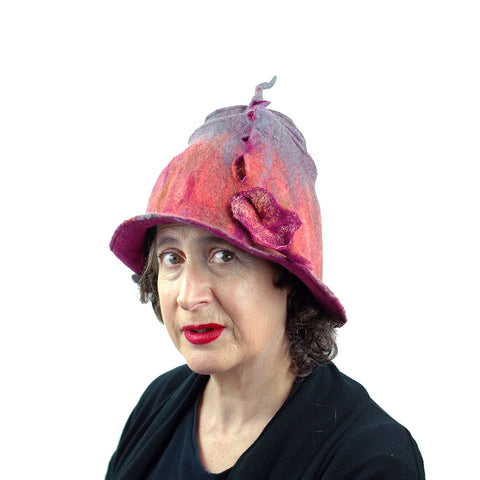 Felted Wizard Hat in Coral, Magenta and Gray - threequarters view