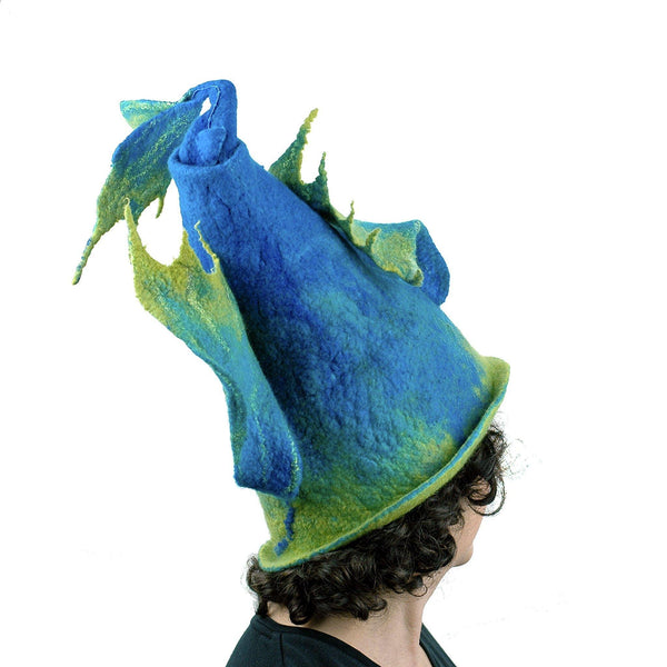 Felted Wizard Hat with Dragon Tail - back view