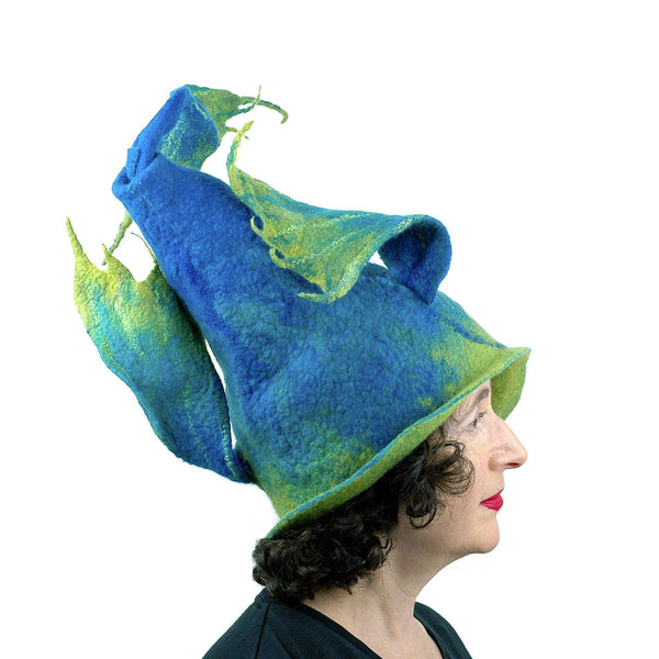 Felted Wizard Hat with Dragon Tail - side view