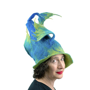 Felted Wizard Hat with Dragon Tail - threequarters view