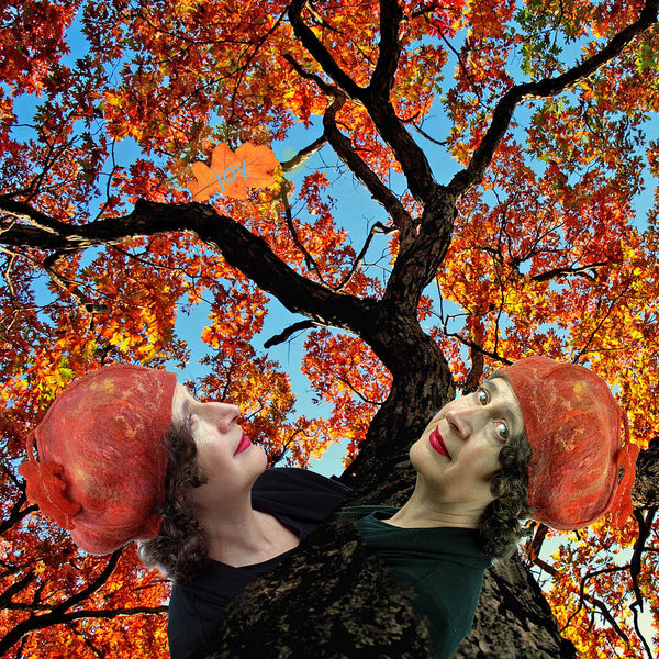 Orange Beret with digital collage of autumn trees in leaf.