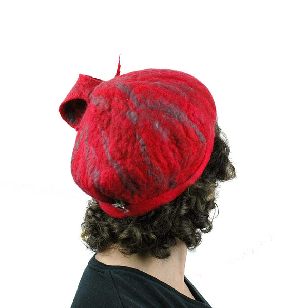 Fishtail Hat in Red with Gray Stripes - bacl view