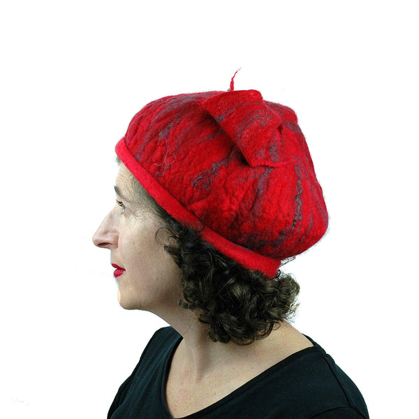 Fishtail Hat in Red with Gray Stripes - side view