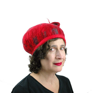 Fishtail Hat in Red with Gray Stripes - three quarters view