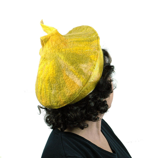 Fishtail Inspired Yellow Beret - back view