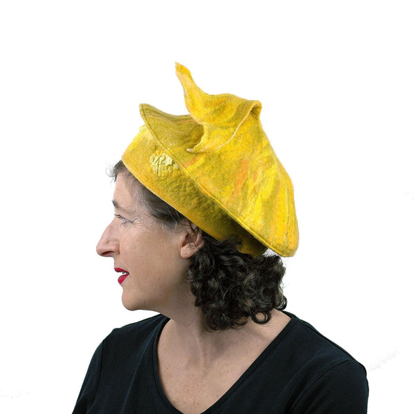Fishtail Inspired Yellow Beret - side view
