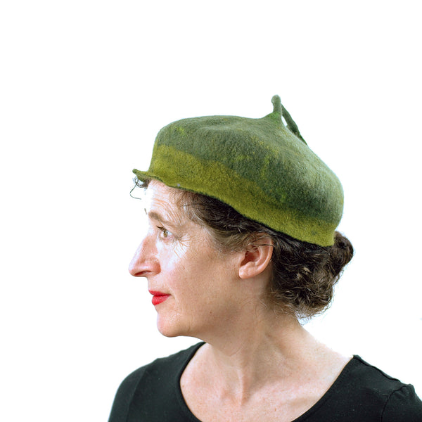 Green Forest Fairy Beret with Dancing Leaf - side view