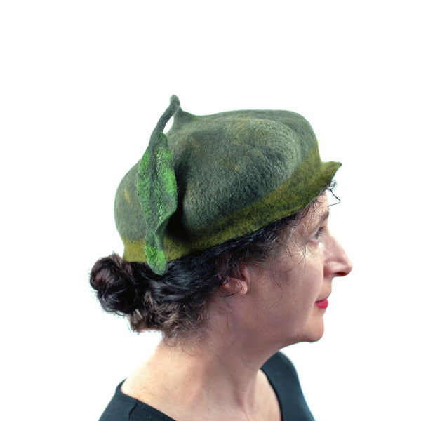 Green Forest Fairy Beret with Dancing Leaf - side view 2