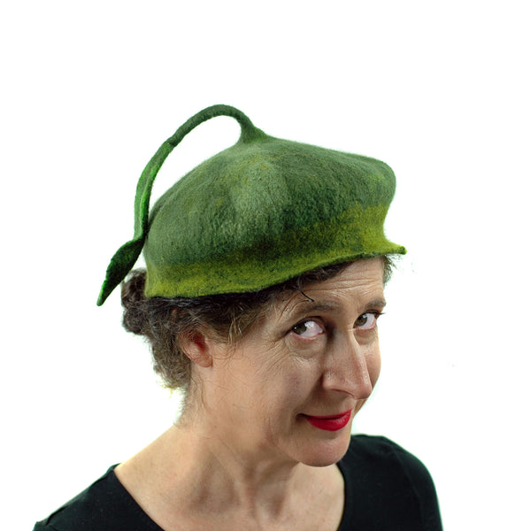 Green Forest Fairy Beret with Dancing Leaf - three quarters view 2