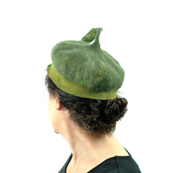 Forest Green Beret with Leaf -back view 2