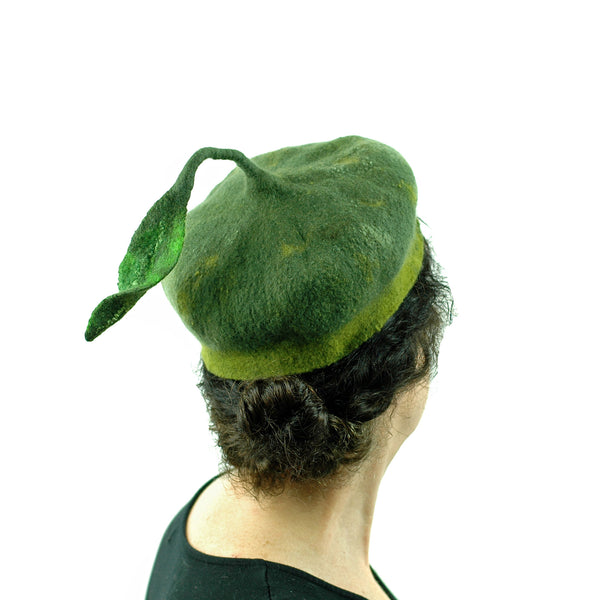 Forest Green Beret with Leaf -back view