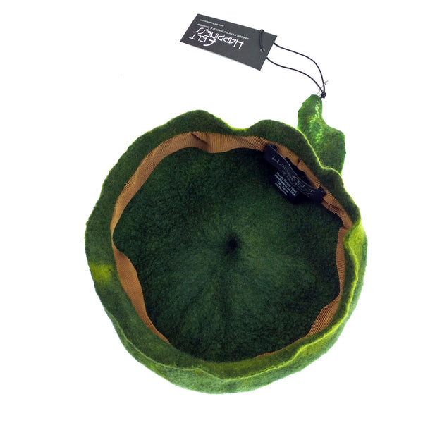 Forest Green Beret with Leaf - inside view