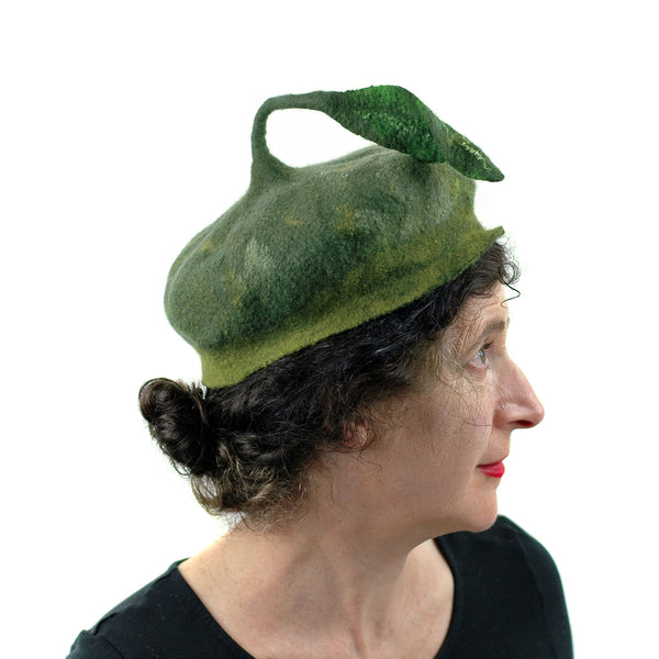 Forest Green Beret with Leaf - side view 2