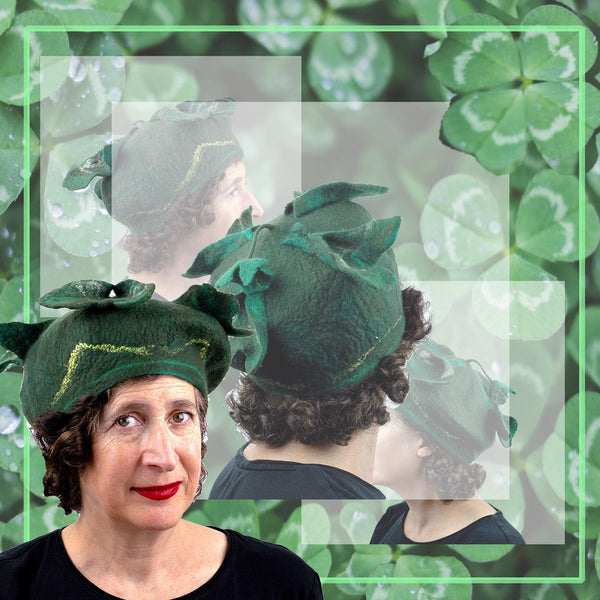 Four Leaf Clover Beret with collage of a field of lucky four leaf clover plants.