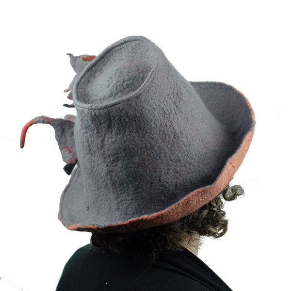 Gray and Orange Leafy Felted Fedora Hat - backview