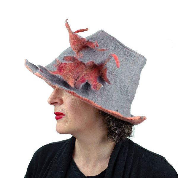 Gray and Orange Leafy Felted Fedora Hat - sideview