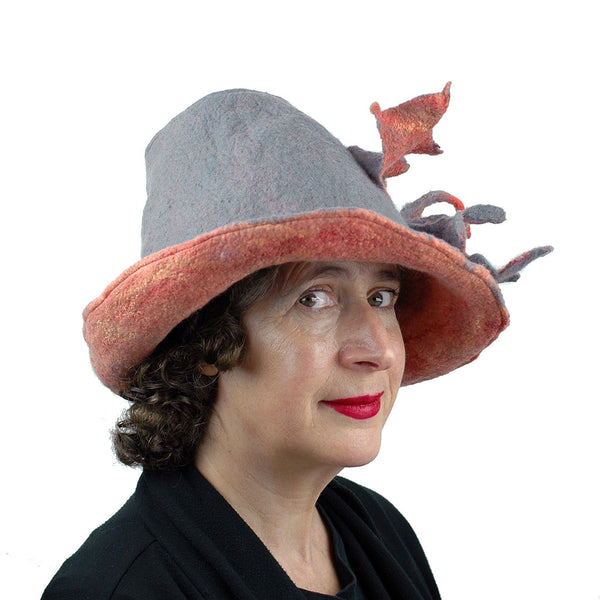 Gray and Orange Leafy Felted Fedora Hat - threequartersview