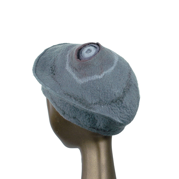 Gray Felted Beret with Crater on Top - back view