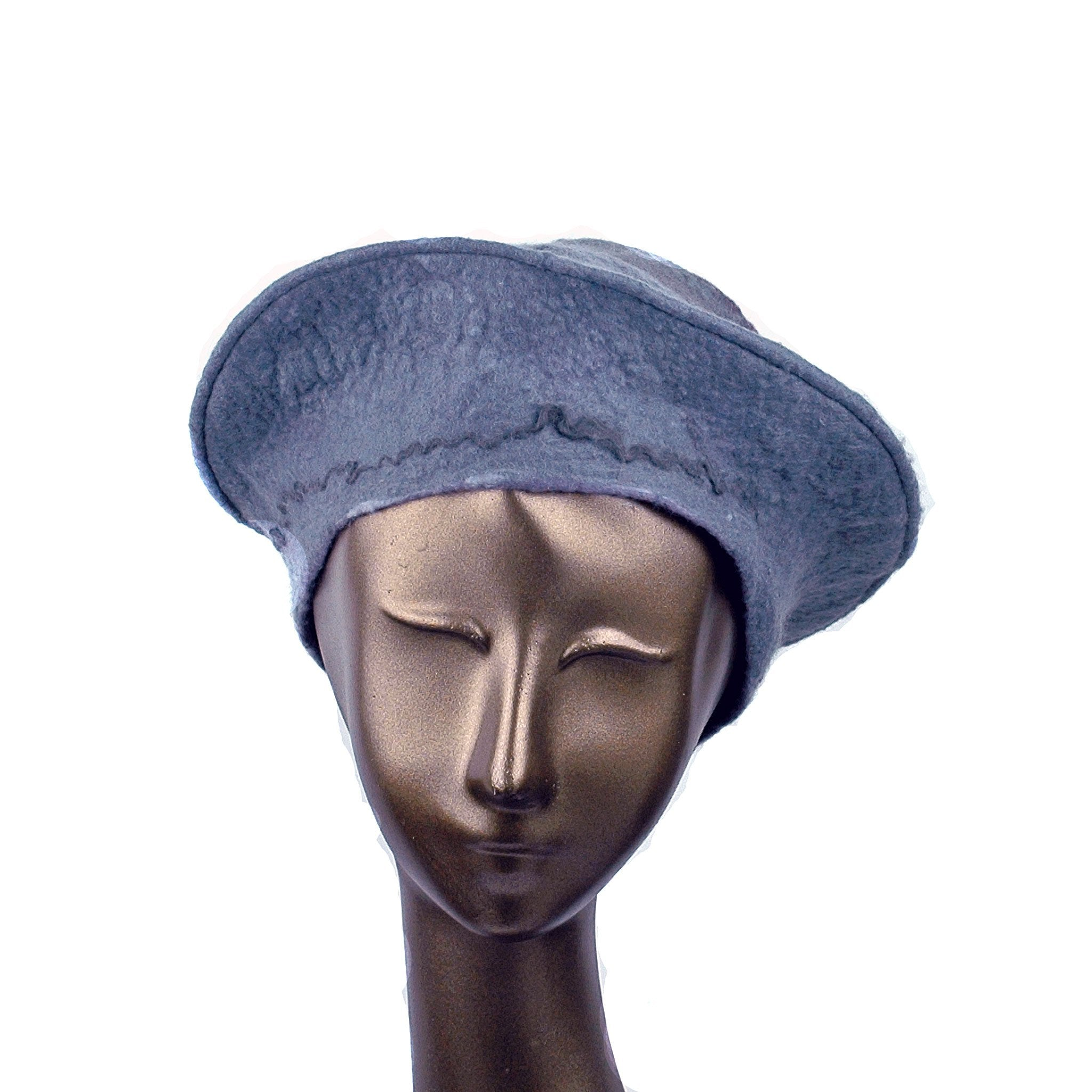 Gray Felted Beret with Crater on Top - front view