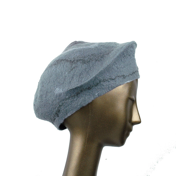 Gray Felted Beret with Crater on Top - side view