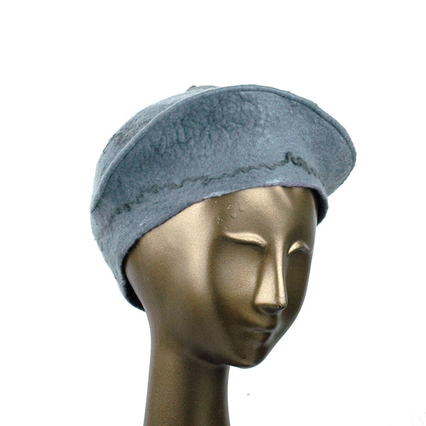 Gray Felted Beret with Crater on Top - three quarters view