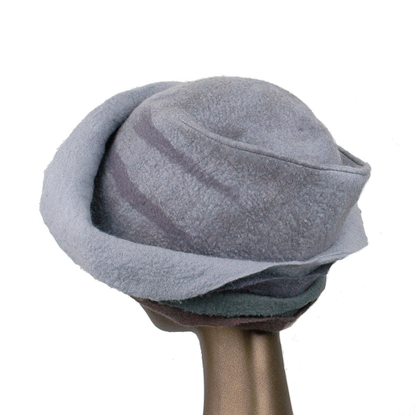 Gray Felted Cloche with Seashell Layered Brim - back view