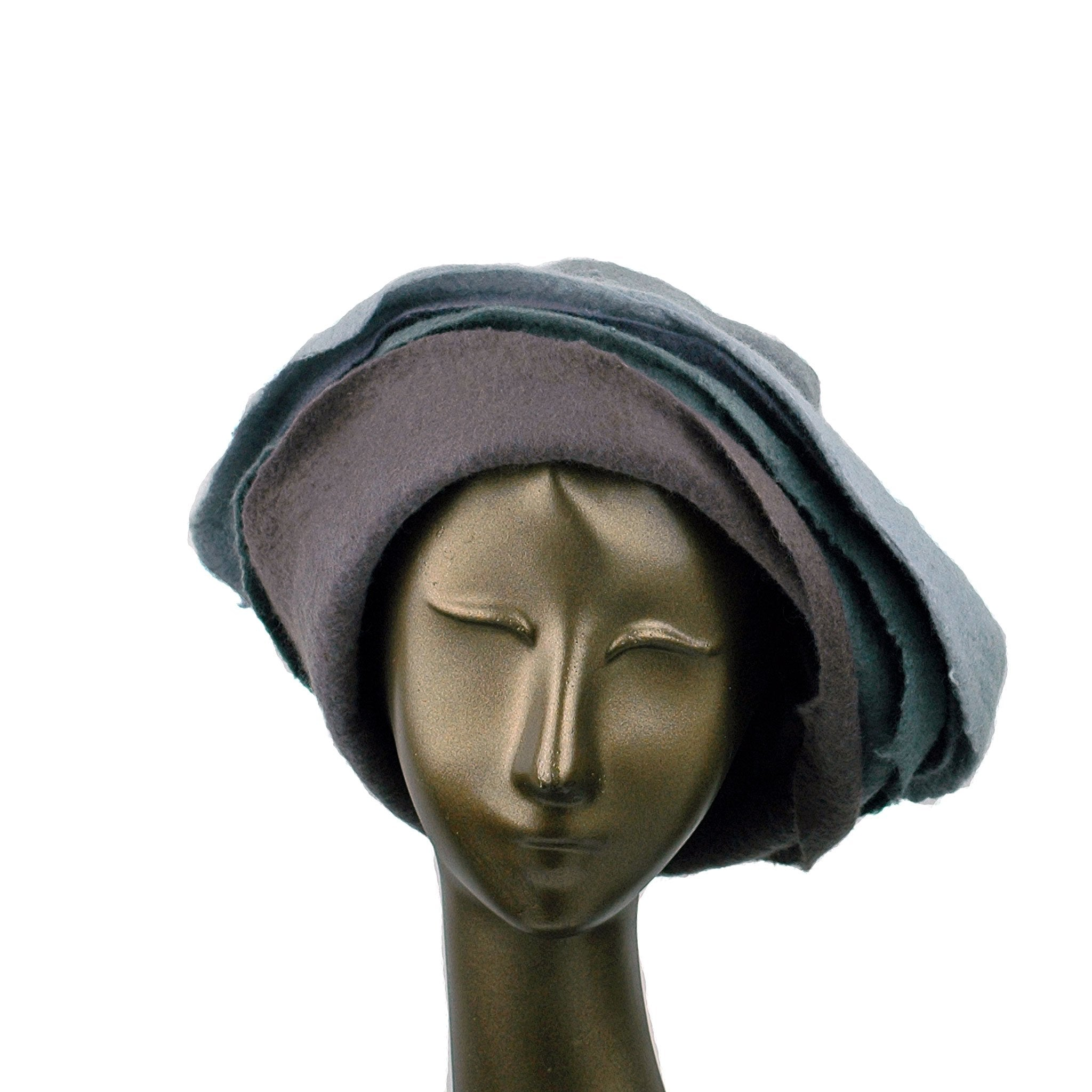 Gray Felted Cloche with Seashell Layered Brim  - front view