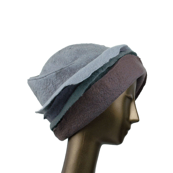 Gray Felted Cloche with Seashell Layered Brim - side view