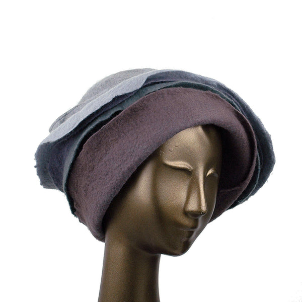 Gray Felted Cloche with Seashell Layered Brim - three quarters view