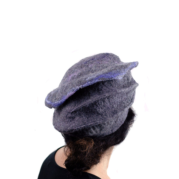 Gray Gotland Wool Beret with Purple Ruffle - back view